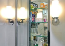 Mirrored medicine cabinet with glass shelving 217x155 Stylish Design Ideas for Medicine Cabinets