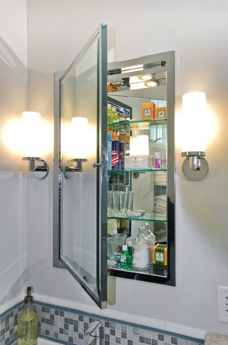 View In Gallery Mirrored Medicine Cabinet With Glass Shelving
