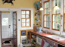 Mismatched colors and contrasting textures come together beautifully in this eclectic kitchen [From: Robert Mace]