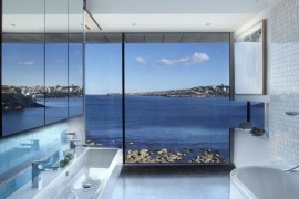 Modern bathroom with a rocky sea view  Spectacular Bathroom Design with a View Modern bathroom with a rocky sea view