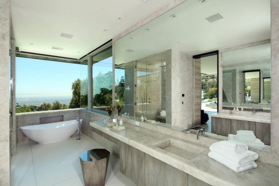 Modern bathroom with a view