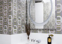 Modern bathroom with geometric wallpaper 217x155 High End Bathroom Accessories with Modern Style