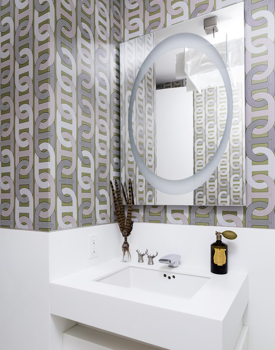 Modern bathroom with geometric wallpaper High End Bathroom Accessories with Modern Style