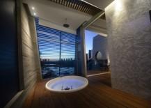 Modern bathroom with subtle tropical flair