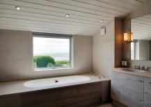 Modern bathtub with a view of the beach 217x155 Spectacular Bathroom Design with a View