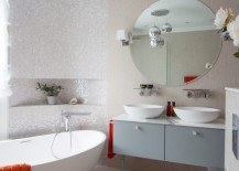 Modern powder room with a round tub and luxe details 217x155 The Sleek Beauty of Round Bathtubs