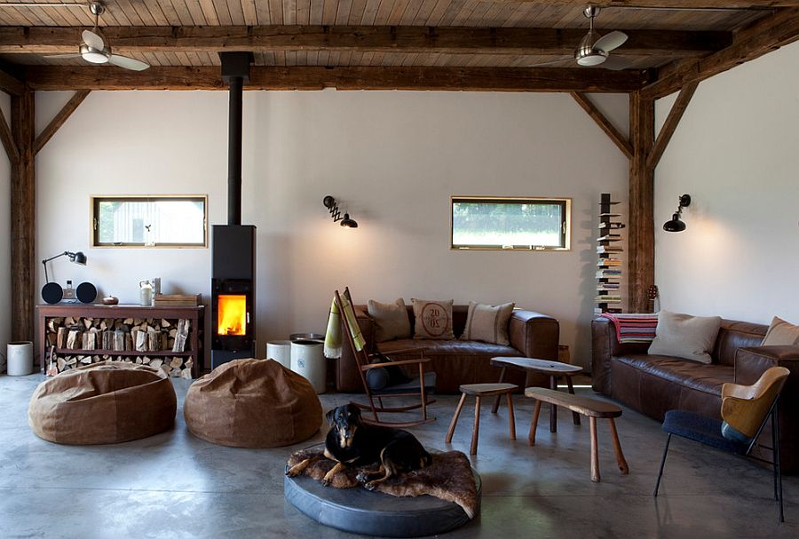 Modern rustic living room design 19th Century Barn Revamped into an Energy Efficient Rustic Home