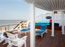 Modern wooden deck overlooking the ocean