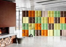 colorful stacked modular shelving system