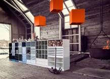 modular shelving system set up in barn
