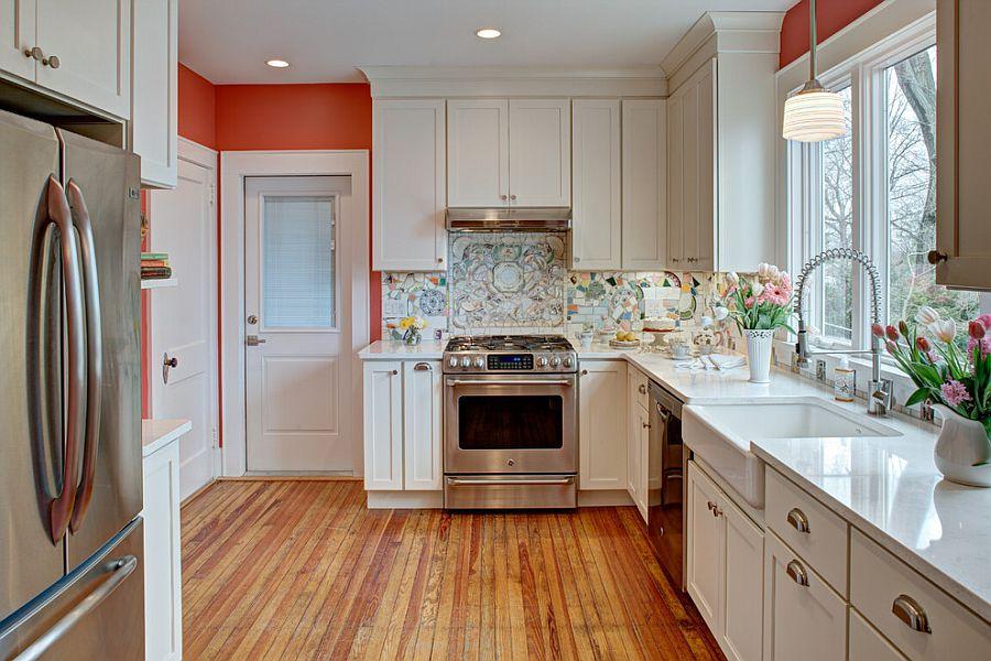 Mosaic backsplash in kitchen with broken pieces of china [Design: Tracey Stephens Interior Design]