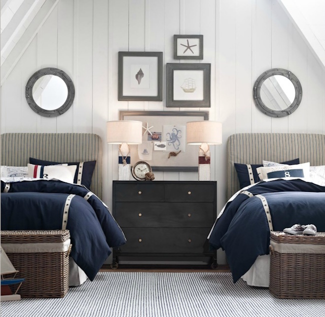 ... Nautical themed guest room with twin beds