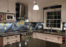 Night sky mosaic backsplash 217x155 18 Gleaming Mosaic Kitchen Backsplash Designs