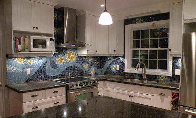 Night sky mosaic backsplash
