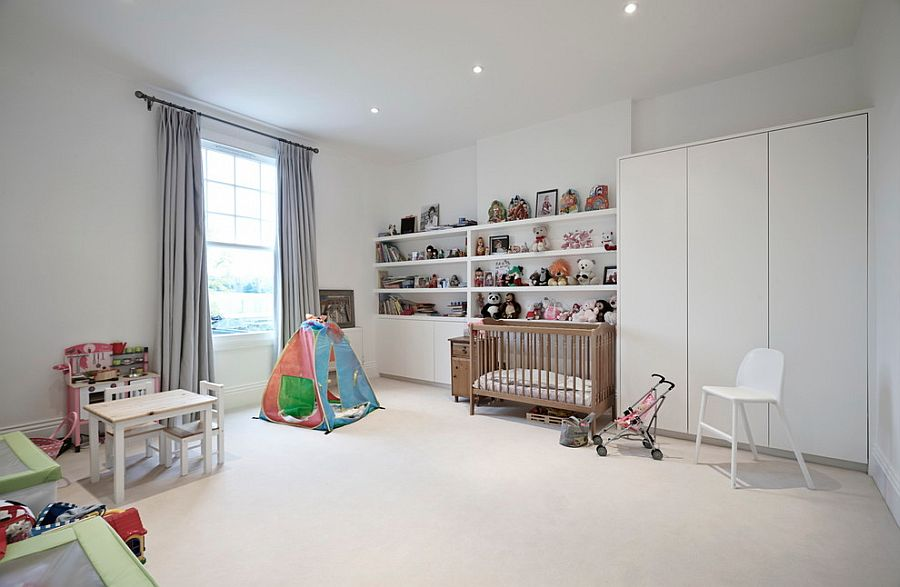 Nursery and playroom with neutral color palette [Design: Concept 8 Architects]