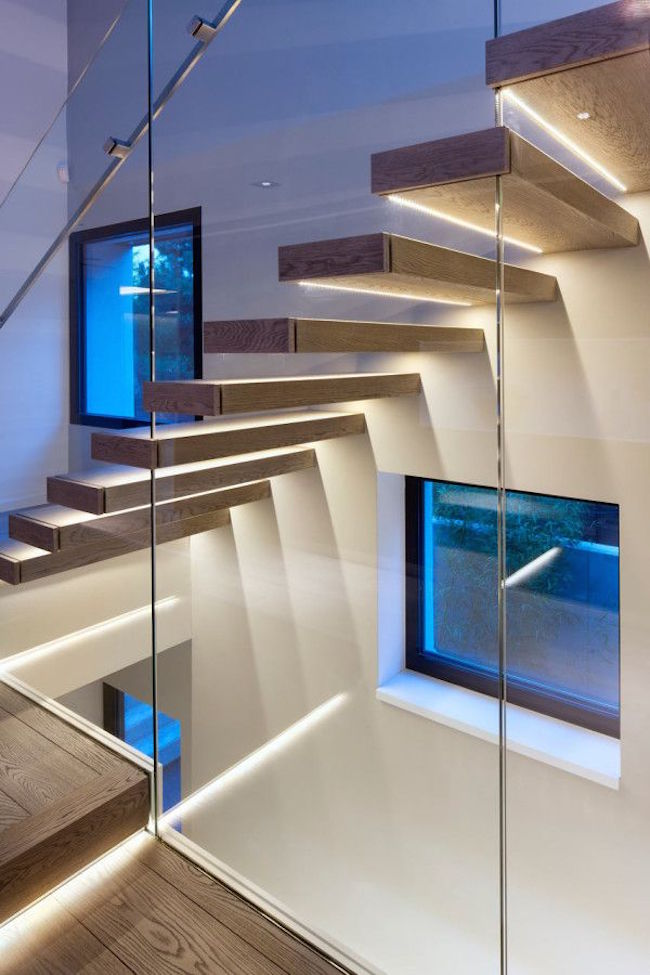 Oak and glass staircase with LED lighting strips