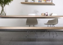 Oak and stainless steel dining table from Elements Living