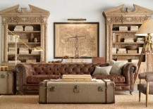 Old steamer trunk used in steampunk living room
