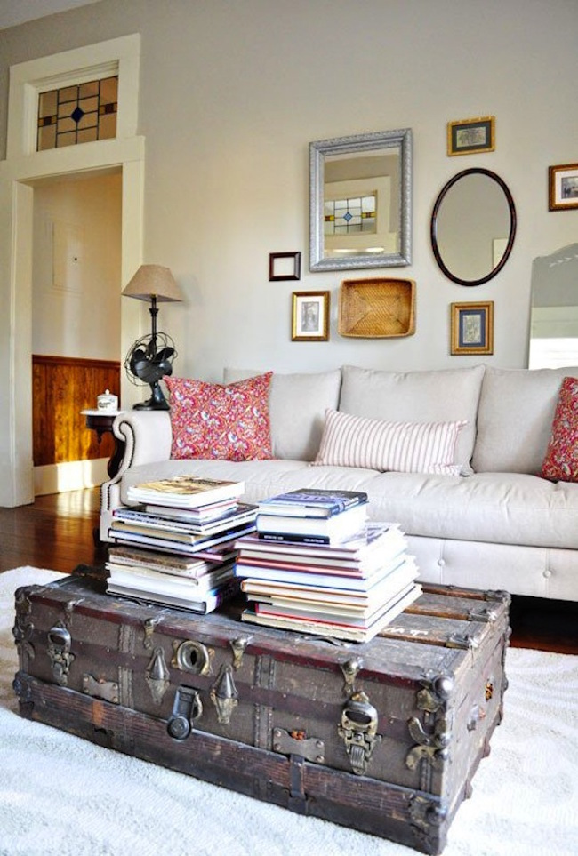Old trunk coffee table brings some rustic charm to a living room