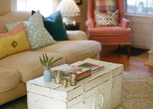 Old worn white trunk coffee table in living room