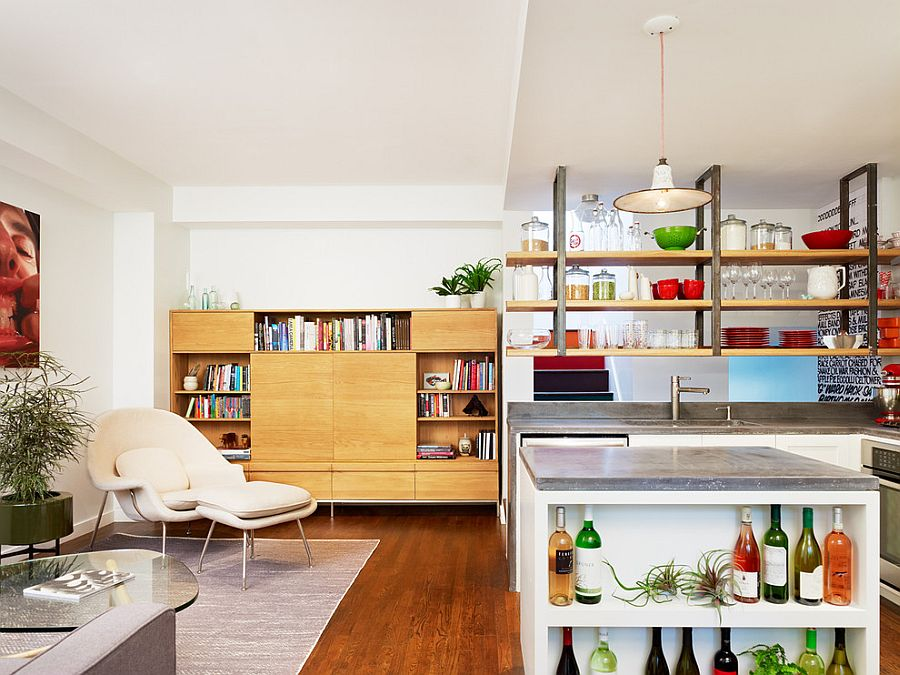 ... Open kitchen island shelves offer a smart display for wine collection  [Design: General Assembly