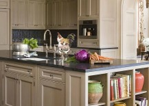 Open shelves add a fabulous display to the kitchen island