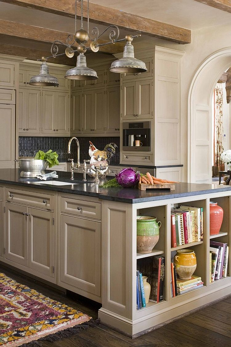 View in gallery Open shelves add a fabulous display to the kitchen island  [Design: Period Homes]