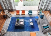 Orange and blue hues in the living room bring color to Casa IV 217x155 Casa IV in São Paulo: A Visual Treat Laced with Color and Contemporary Flair