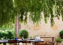 Outdoor dining space with overhead shade 217x155 Winery Style: Relaxed, Decadent Design at Home