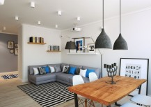Oversized floor lamp and pendant lights in gray play into the color scheme of the Scandinavian living room 217x155 Going Scandinavian in Style: Space Savvy Apartment in Moscow