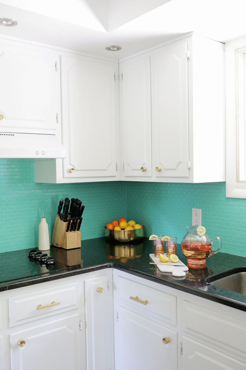 Painted tile backsplash from A Beautiful Mess