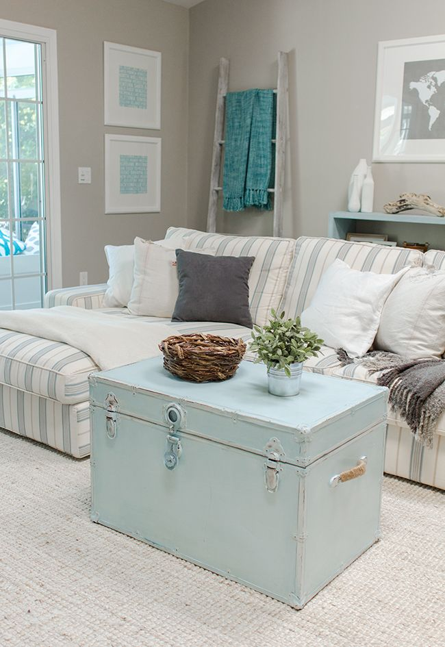 Pastel blue trunk coffee table in living room