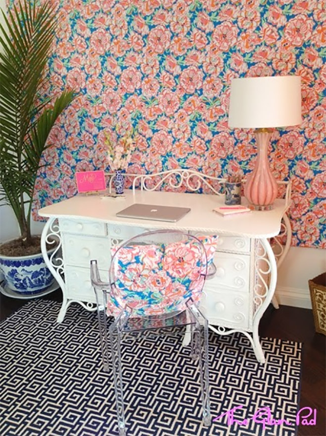 Peach and Blue Home Office