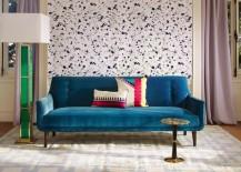 Peacock blue sofa from Jonathan Adler