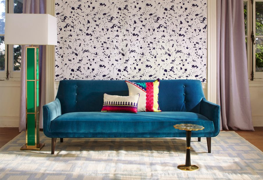 Peacock blue sofa from Jonathan Adler