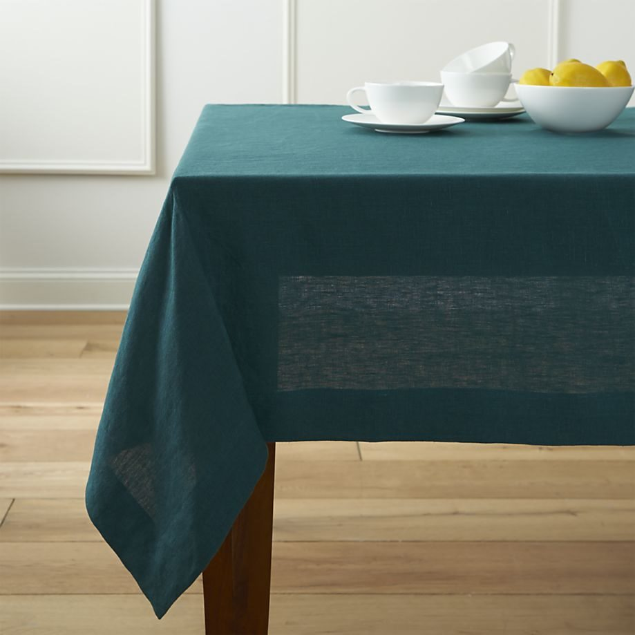 Peacock blue tablecloth from Crate & Barrel