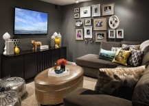 Perfect shade of gray for the dark and moody TV room 217x155 20 Small TV Rooms That Balance Style with Functionality