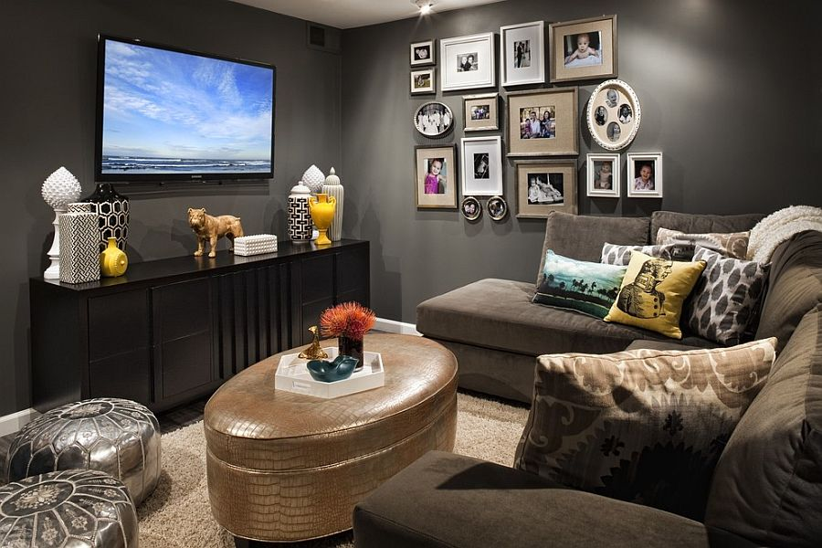 Perfect shade of gray for the dark and moody TV room [Design: FLO Design Studio]