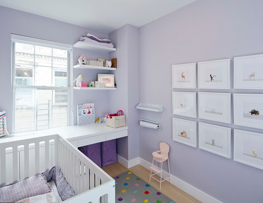 Perfect small nursery in purple for your baby girl with smart Scandinavian vibe