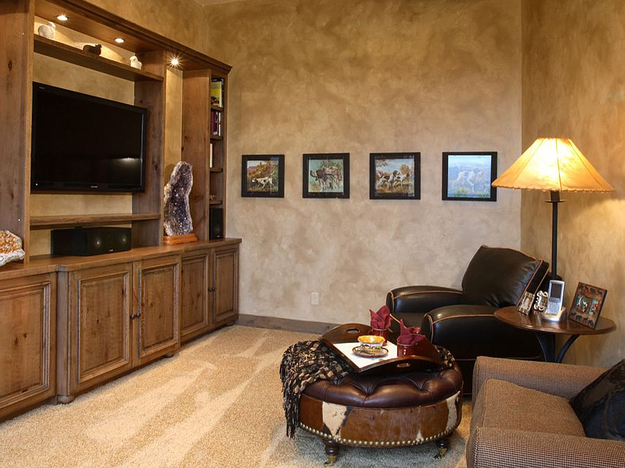 plastered walls add texture to the home office tv room design terra firma
