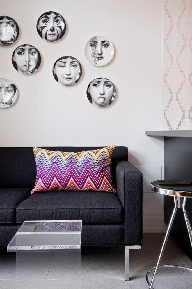 Plates on display in a room designed by MHouse Inc.