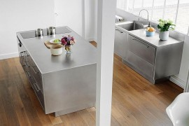 Posh stainless steel kitchen island and worktop with smart functionality