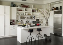 Practical kitchen wall with open shelves, closed cabinets and a spice rack