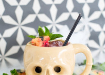 Pumpkin skull cocktail from Sugar & Cloth