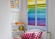 Rainbow colored plantation shutters steal the show here