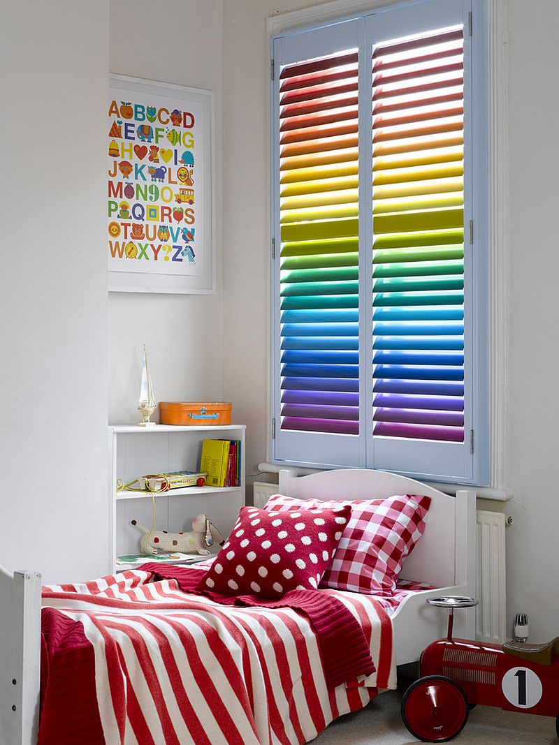 Rainbow colored plantation shutters steal the show here [Design: All Shutters and Blinds - Adelaide]