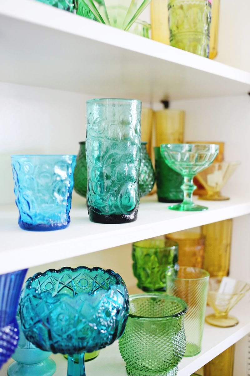 Rainbow glass collection of blogger Elsie Larson