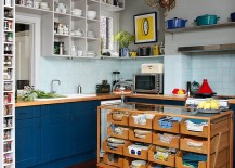 Reclaimed vintage haberdasher turned into a unique island for the eclectic kitchen