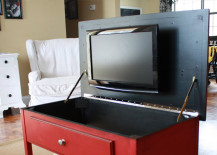 Red Coffee Table Hides TV