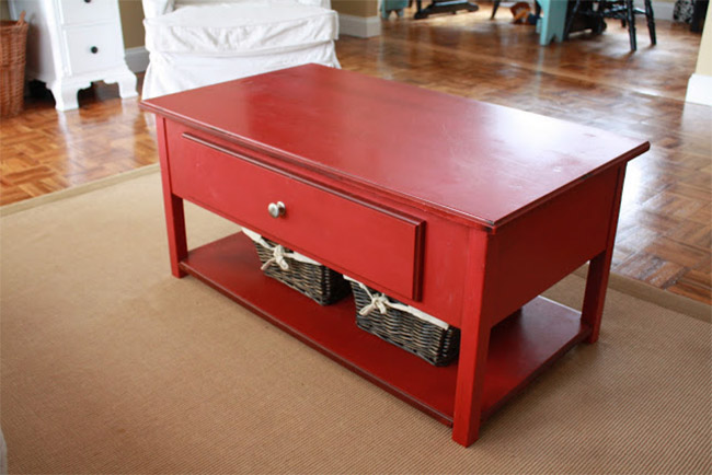 Red Coffee Table with Hidden TV
